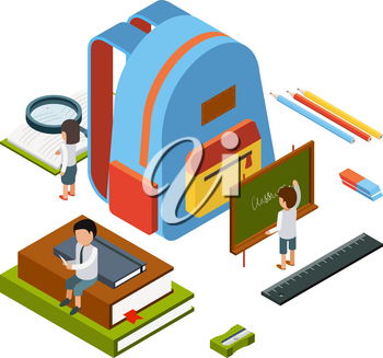 Backpack isometric. School stationary items education happy people college bag vector concept. Illustration of education college, student study and training