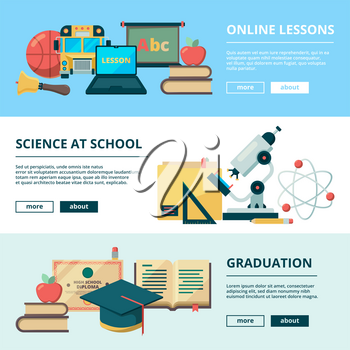 School flat banners. Education vector pictures learning school objects stationery books college. Illustration of education and stationery for school study