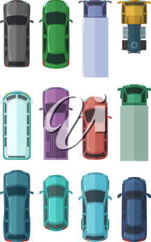 Different roofs of automobiles in the city. Top view cars. Vector illustrations in flat style. Top view automobile, auto vehicle transport, model of urban machine