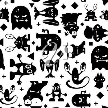 Seamless black and white pattern with monsters. Monochrome vector illustration