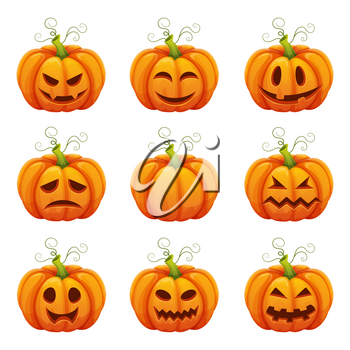 Pumpkin with funny faces. Different emotions. Halloween symbols in cartoon style