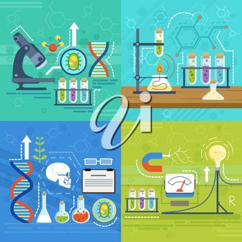 Conceptual illustrations of science with different chemist symbols. Vector banners in cartoon style. Science chemical laboratory for test