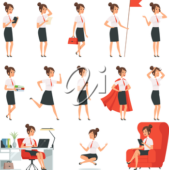 Businesswoman characters. Business ladies in various action pose. Lady busyl, character cartoon worker work and relax meditation, vector illustration