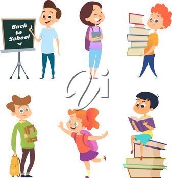 School characters. Male and female children go to school. Boy and girl character, child education, pupil and student, vector illustration