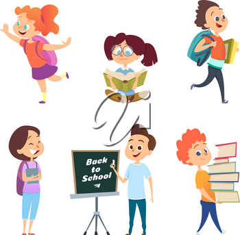 School childrens. Back to school characters. School education, girl and boy. Vector illustration