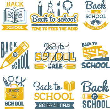 Back to school labels set. Vector monochrome badges isolate. Back to school learning study, insignia emblem sale illustration