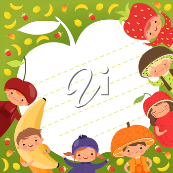 Kids menu template. Colored background with illustrations of happy children in fruit costumes. Vector fresh mascot smiling, clothing dress