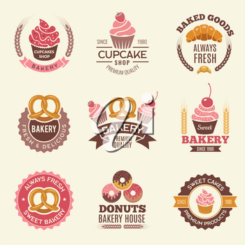 Bakery retro labels. Cupcakes donuts cookies and fresh bread vintage vector illustrations for stickers or badges design of bakery shop. Badge pastry, fresh donut and cupcake, delicious croissant