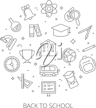 Round shape with school symbols. Symbols and pictures of science. Vector back school, education chemistry, study mathematical illustration
