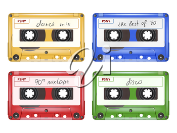 Colored audio cassette. Mixtape retro pop rock music equipment vector set of realistic pictures isolated. Set of cassette tape, stereo record illustration