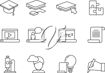 Learning icon. Online education training courses special school or university app vector linear symbols isolated. Study technology, education training online illustration