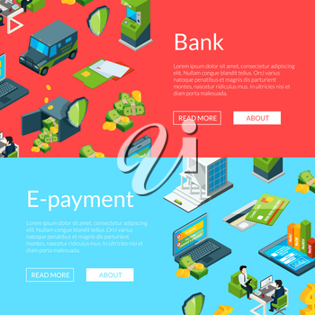 Vector isometric money flow in bank icons web banner templates illustration