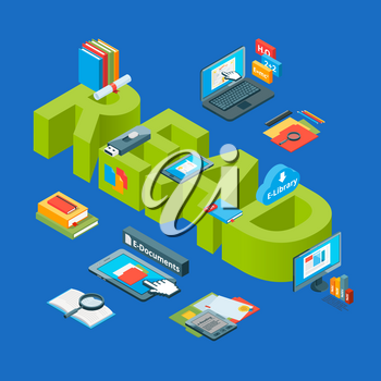 Vector isometric online education icons infographic concept illustration. Online education isometric, tutorial course