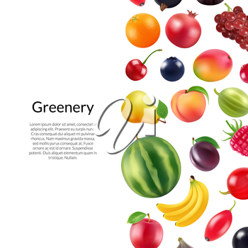Vector realistic fruits and berries background with place for text illustration. Banner and poster