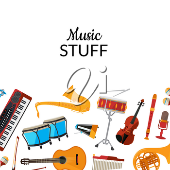 Vector cartoon set of musical instruments background with place for text illustration. Guitar and drums