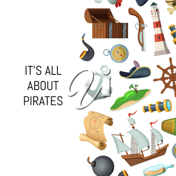 Vector cartoon sea pirates background with place for text illustration. Banner with sail boat