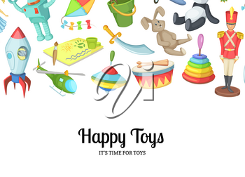 Vector cartoon children toys background with place for text illustration. Web banner for website