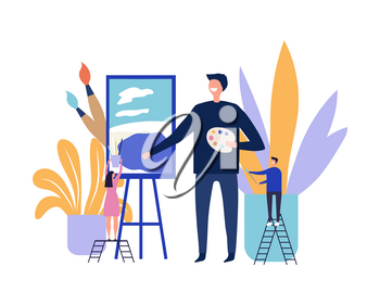 Art therapy concept. Artist paints picture. Flat vector male artist character and tiny people with art equipment illustration. Art therapy, paint drawing, artistic hobby