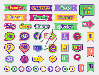 To do stickers. Planner sticky paper organizer labels badges for agenda notepad trendy lettering different styles vector set. Illustration memo planner, calendar and organizer scrapbook stickers
