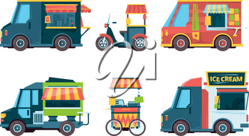 Food truck. Pushcart picking transport hawkers festival fast food vector collection flat pictures. Food truck street, fast pushcart with snack illustration