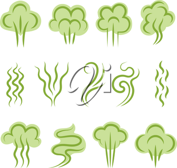 Smell symbols. Aromas steam lines clouds vapour shapes scent odour vector graphic set. Illustration odor and smell, cloud green scent