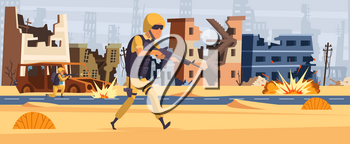Army soldier. Military background man with ammunition and gun warrior attack vector cartoon character. Army warrior with gun run to attack illustration