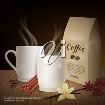 Vector realistic cup of coffee and toppings background. Illustration of realistic coffee drink of cup, beverage pack bean