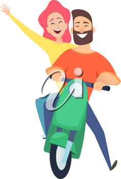 Scooter ride. Happy woman man riders. Cute cartoon couple on date. Male female drivers vector illustration. Ride scooter woman and man, bike transport