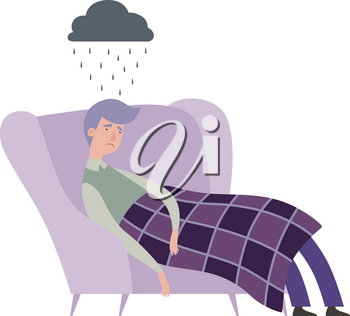 Tired man. Mental disorder, depressed male character. Isolated guy in chair, sad people vector character. Mental tired, man depression, stressed illustration