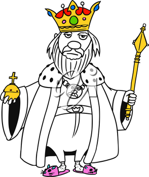 Cartoon vector old fantasy medieval king monarch sovereign with crown apple and scepter