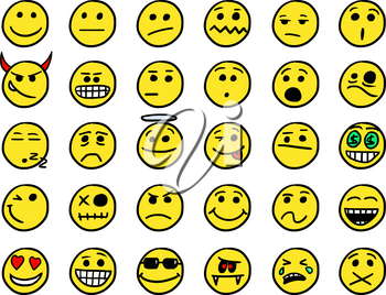 Set01 of smiley icons drawings doodles in yellow color