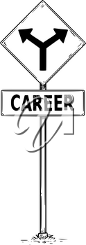Vector drawing of fork in the road arrow signs with career business text.