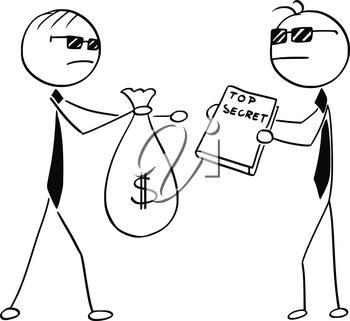 Cartoon stick man illustration of two agents spies business men selling changing top secret for bag of money.