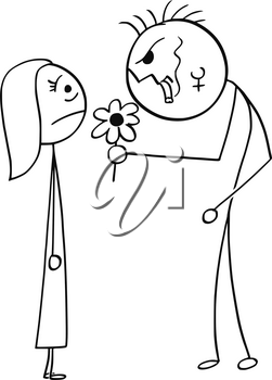 Cartoon stick man drawing illustration of young woman surprised on date with ugly dangerous punk mohawk hairstyle man with flower and cigar.