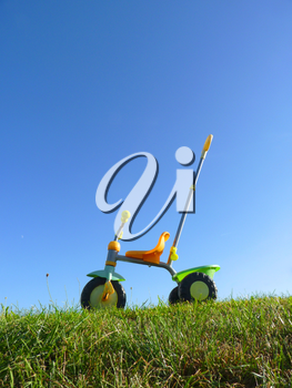 Childhood toy tricycle standing on green grass with blue sky background.