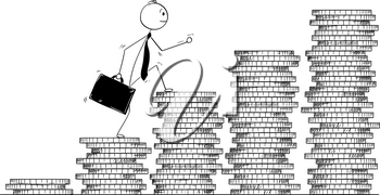 Cartoon stick man drawing conceptual illustration of businessman walk coin piles as stairs. Business concept of growth and success.