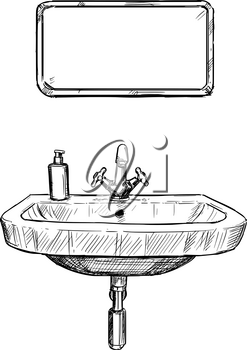Vector artistic pen and ink hand drawing illustration of sink and mirror in bathroom.