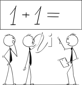 Cartoon stick man drawing conceptual illustration of business team or people working on one plus one 1 mathematical calculation. Business concept of teamwork, incompetence and incapacity.