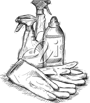 Vector artistic pen and ink hand drawing illustration of house cleaning products and rubber gloves.