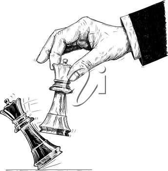Vector artistic pen and ink drawing illustration of hand holding chess white king figure and knocking down the black king. Business concept of checkmate strategy and game.