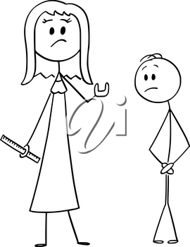 Vector cartoon stick figure drawing conceptual illustration of woman with rule or ruller showing something is too small size gesture, man covering his groin or crotch. Sexual problem concept.