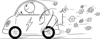 Cartoon stick drawing conceptual illustration of happy man driving electric car, while blooming flowers are coming out of the vehicle as metaphor of environmental conservation.