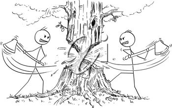 Cartoon stick drawing conceptual illustration of two lumberjacks with ax or axe who are rejecting cooperation and cutting down tree from opposite sides instead. Business concept of competition and risk.