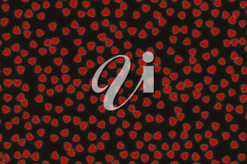 Valentine's Day abstract 3D illustration with red hearts on black background.