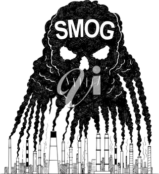 Vector artistic pen and ink drawing illustration of smoke coming from industry or factory smokestacks or chimneys creating human skull shape into air. Environmental concept of toxic and deadly smog and air pollution.