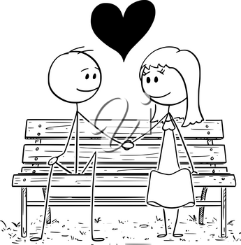 Cartoon stick drawing conceptual illustration of romantic couple sitting on park bench or seat and holding each others hand.Big heart is between them.