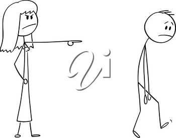 Vector cartoon stick figure drawing conceptual illustration of angry woman or female boss expelling man, forcing him to leave.