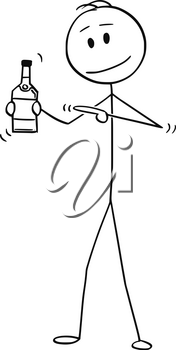 Cartoon stick figure drawing conceptual illustration of man holding bottle of alcohol and pointing at it.