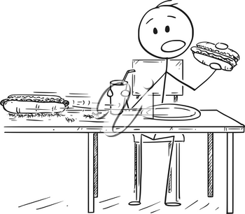Cartoon stick drawing conceptual illustration of man eating hotdog and drinking cola or carbonated beverage, while ants are stealing his second hotdog.