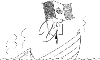 Cartoon stick drawing conceptual illustration of politician standing depressed on sinking boat waving the flag of United Mexican States or Mexico.